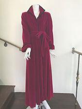 Lucie Ann Beverly Hills vintage burgundy velvet robe with navy trim