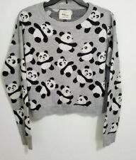 Cotton On Panda Cropped Gray Knit Long Sleeve Sweater Size Large