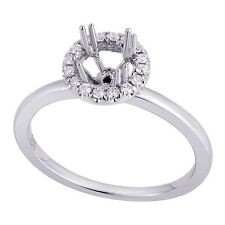 18K White Gold 0.13Ct Solitaire with Halo Diamond Ring Setting (Sizable)