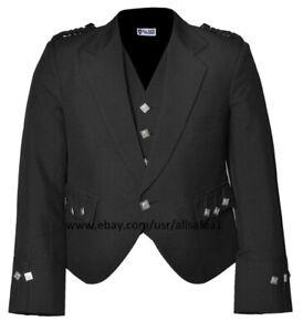 "Scottish Argyle Kilt Jacket With Waistcoat/Vest - Sizes 36-54"",R,S & L US Seller"