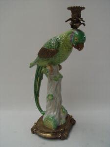 99937889-dss Leuchter Kerzenhalter Prunk-Kandelaber Messing Papagei H42cm