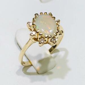 14k Yellow Gold Genuine Diamonds & White Opal Vintage Halo Band Ring Size 7 Gift