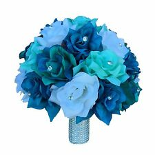 "10"" Bouquet:Shades of jade/aqua/Deep Turquoise,White Bridal bouquet Bling handle"