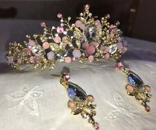 Disney Inspired Bride-Shower Gift-Pink and Crystal Rhinestone Tiara and Earrings