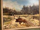 Wildlife Oil Painting, Vintage - Antique