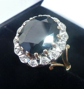 Large 9ct Gold 5.00ct Sapphire & Diamond Ring, Size O, Diana Style