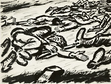 Frans Masereel Von Hitlerdeutschland entfesselter Krieg 2.Weltkrieg 1943 Tusche