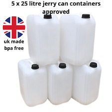 5 x 25 litre 25 litre new plastic bottle jerry can water container carrier