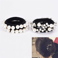 Fashion Rhinestone Crystal Pearl Hair Band Rope Elastic Ponytail Holder  TB