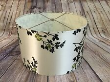 Drum Style Table Lampshade White Satin with Black and Green Florals Home Decor