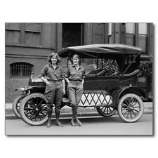 """Postcard-""""The 2 Military Girls Stand in Front of Model T-"""" /1940's/  (B304)"""