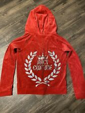 Girls Juicy Couture Red Soft Hooded Zip Up Size Large