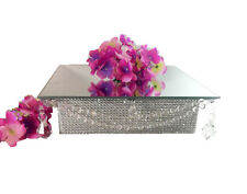 """Mirror Top 12"""" Square Acrylic Crystal Crystal Cake Stand with Hanging Pendants"""