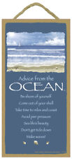 Advice From An Ocean wood Inspirational Sign wall Novelty Plaque Sea gift