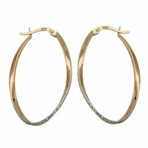 Hoop 33x20mm Oval Curved Bicolour Diamond-Cut 9Kt Rose Gold