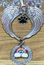 "Angel Wings Pet Memorial ""Forever In My Heart"" Rainbow 🌈 Bridge Hanging Decor"