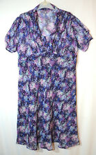 PURPLE WHITE BLUE FLORAL LADIES CASUAL DRESS SKATER SIZE 18 DEBENHAMS FULY LINED