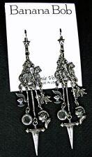 BANANA BOB Vtg KNIGHT Sword HORSE Dangle CRYSTAL Silver Pierced Charm Earrings