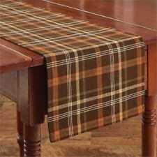 Country Bountiful Table Runner 13x54 Brown Green Orange Yellow Cream Plaid