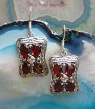 Ohrring viktorianischer Stil Granat rot Stein des Januar Sterling Silber 925
