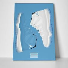 NIKE AIR JORDAN PANTONE COLUMBIA 11'S GALLERY ART CANVAS 11in x 14in