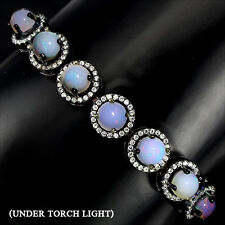 DELUXE NATURAL 6mm RAINBOW LUSTER FIRE OPAL &W CZ STERLING 925 SILVER BRACELET 7