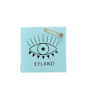 EYLAND Yellow Gold Plated Singular Safety Pin Earring Evil Eye Swarovski Crystal
