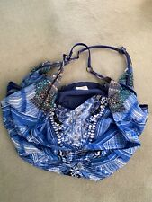 CAMILLA FRANKS blue/white Beach Hobo Slouchy Bag with Crystals