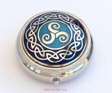 Celtic Triskele round Pill Box Triskelion Sea Gems blue enamels Silver Plate