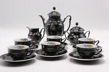 JL Il Menau Graf Von Henneberg 15 Piece Black and Silver Demitasse Tea Set