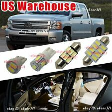 10-pc Pure White LED Light Interior Package Inside Kit For Chevy Silverado 07-13