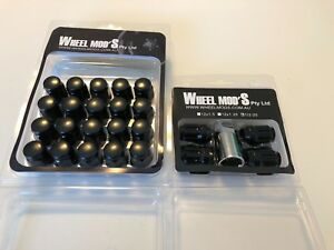 TOYOTA HILUX 4WD Tapered BLACK Wheel Nuts + ANTI THEFT nuts Kit 12x1.5mm