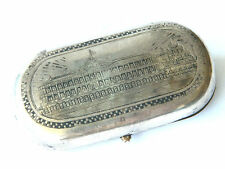 ca.1873 Solid Silver Etched TOBACCO CASE w/ KREMLIN RED SQUARE Pre-1917 Russia