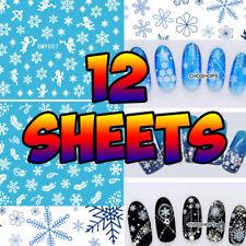 12 fogli di stile di Natale Nail Art 3D Nail Art Bianco Fiocco di Neve Natale 3D NAIL