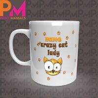 personalised Crazy Cat Novelty her his Mug Cup Gift 11oz Animal Cats White Mugs