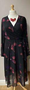 Coast Nyla Printed Wrap Midi Dress Black Red Floral Sizes 20 24 26 BNWT