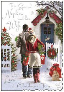 """Jonny Javelin Nephew & Wife Christmas Card - House & Couple With Gifts 9 x 6.25"""""""