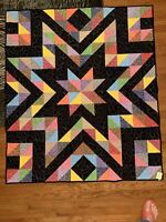 """Handmade pieced quilt professionally quilted. 54"""" Square """"Sparkle Plenty"""""""