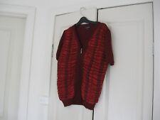 Ladies Cardigan Design Liz Jordan Size L Maroon &  Lighter Red Short Sleeves