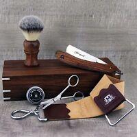 CLASSIC SHAVING SET Synthetic Brush & Straight Cut Throat Razor   Vintage Barber