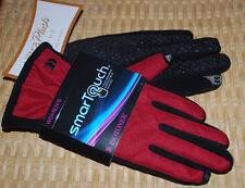 Isotoner Smartouch Winter Gloves Womens M/L Really Red Black SOFT Lining NWT $42