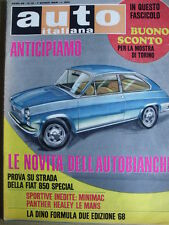 Auto Italiana n°10 1968 -Test Fiat 850 Special - Sportive Minimac Phanter [Sc.7]