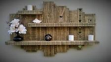 RUSTIC RECLAIMED HANDMADE FLOATING WALL TIMBER SHELF & MIRROR WOOD DISPLAY UNIT