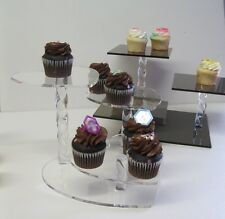 "Cupcake Stand Heart Shaped 3 Tier Smoke Acrylic w/Spiral Legs 7"" Hearts"