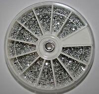 ca.2800 Silber Nail Art Strasssteine im Rondell Rund 1,5mm Strass Steine Design
