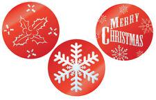 Eddingtons 3 Christmas Xmas Cake Stencils Holly Snowflake Merry Icing Cocoa Bake