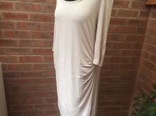 Maternity dress scoop neck 3/4 sleeves cream ecru size 16
