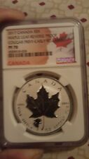 2017 $5 CANADA 1OZ SILVER MAPLE LEAF NGC PF70 HOWLING COUGAR PRIVY REVERSE PROOF