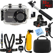 Vivitar HD Action Waterproof Camera / Camcorder Black 32GB Outdoor Mount Kit