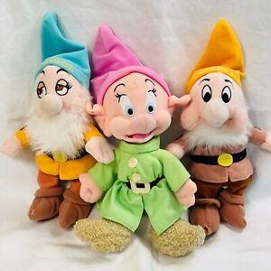 """Lot 3 Disney Snow White & Dwarfs Beanie Plush  8"""" inch Sneezy Bashful Dopey"""